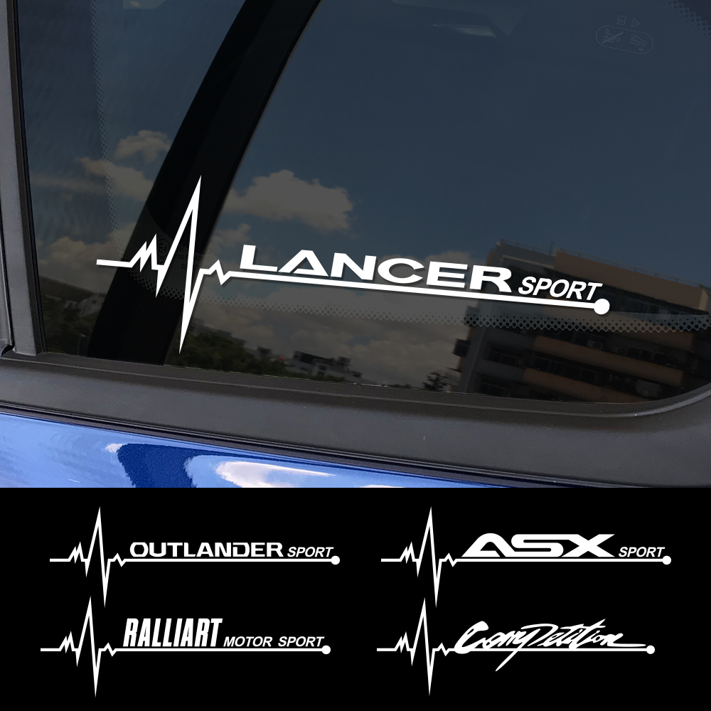 2PCS Sports Auto Vinyl Decals Car Side Window Sticker For Mitsubishi Lancer 10 3 9 EX Outlander 3 ASX L200 Ralliart Accessories