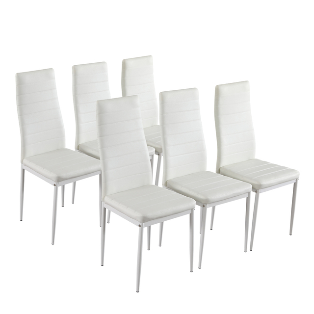 Dining Table Set Simple Transparent Glass&Iron Dinner Table + 6pcs Elegant Stripping Texture High Backrest Dining Chairs White 5