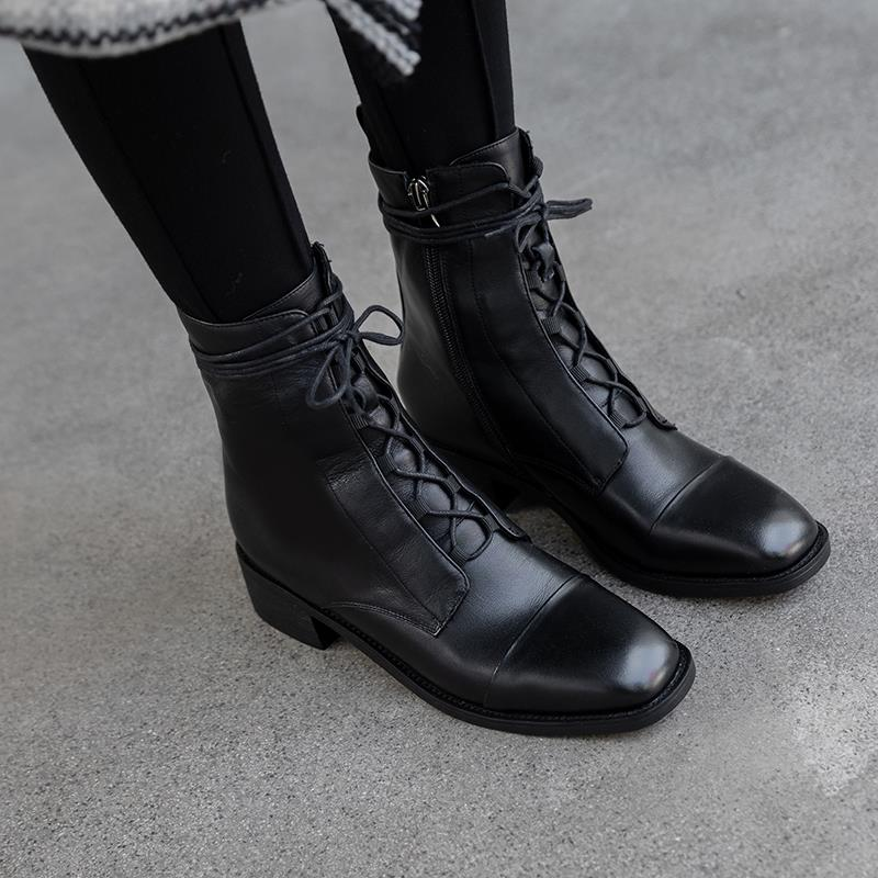 Image 5 - ALLBITEFO high quality genuine leather  Frenulum ankle boots for  women winter women boots concise ladies shoes girls bootsAnkle Boots