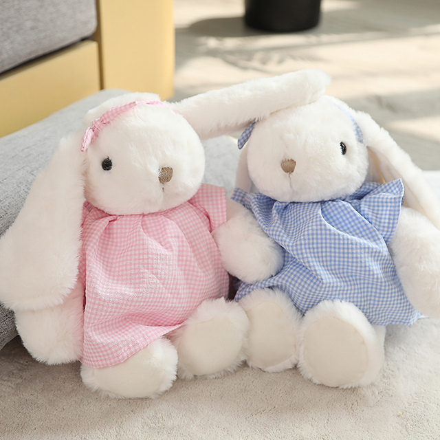 30cm Comforting White Lop Doll Dressed Checks Skirt Bunny Cute Animal Plush Toy Baby Toddler Sleeping Friend Birthday Gift 1