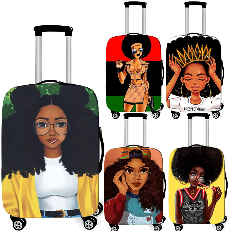 African Girl  Luggage Cover Afro Women Baggage Covers Travel Accessories Elastic Trolley Case Suitcase Cover For 18-32 Inch