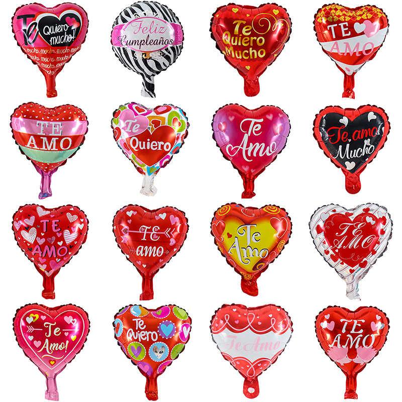 10Pcs 10Inch Spaans I Love U Hart Te Amo Folie Ballonnen Bruiloft Gelukkige Verjaardag Party Teamo Valentijnsdag dag Globos Levert