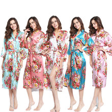 YUXINBRIDAL 2019 New Robe Women s Long Kimono Floral Bridesmaid Robe,Bridal Womens Robes Sleepwear  Silk