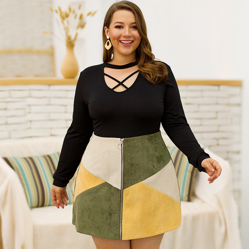 Women's Autumn Winter Skirt Empire O-Ring Zipper Fashion Color Block Plus Size Ladies Casual A-line Short Skirts All Match Tees