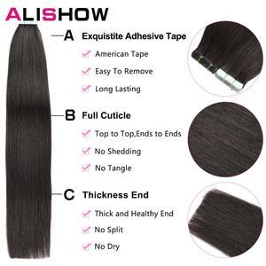 Image 3 - Alishow 18 cal taśmy w Remy doczepy z ludzkich włosów podwójne wyciągnąć włosy proste niewidoczne wątek skóry PU włosów