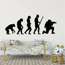 Soldier Evolution Wall Art Sticker Home Playroom Decoration of Man Gun Vinyl Decals Wallpaper WL1681