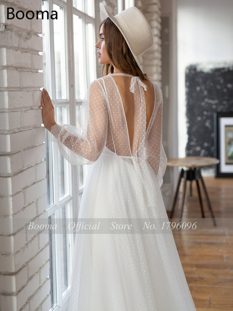 Booma Polka Dots Tulle Beach Wedding Dresses O-Neck Long Sleeves Sheer Neckline Bride Dresses Backless A-Line Bridal Gowns 4