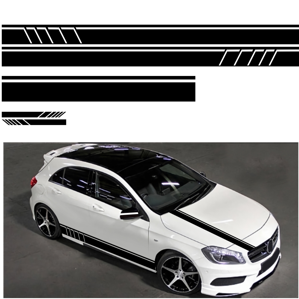 5pcs Racing Car Striped Hood Body Sticker Side Door Long Stripe Stickers Auto Vinyl Decal  Accessories