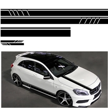 5pcs Racing Car Striped Hood Body Sticker Car Body Racing Side Door Long Stripe Stickers Auto Vinyl Decal  Car Accessories 30cm limited edition creative vinyl decal car window tire eyebrow decor sticker auto body tail front hood stickers