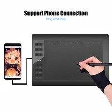 tableta gráfica mesa digitalizadora Tableta gráfica de 10x6 pulgadas tableta de dibujo de gráficos profesionales 12 teclas exprés con batería de 8192 niveles-Stylus gratis/soporte para bolígrafos