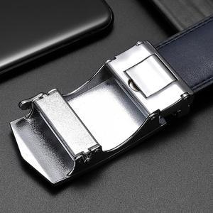 Image 4 - بيسون الدينيم جلد أصلي للرجال حزام سبيكة التلقائي مشبك فاخر الطبقة الأولى جلد البقر والجلود حزام الأزرق حزام للذكور N71511