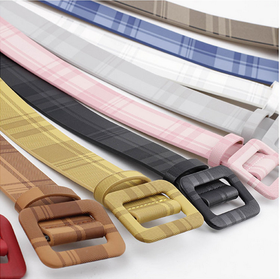 New Ladies Belt Candy Color Ladies Belt Fashion Square Wild Belt Non-hole Wide Belt Belt Ladies