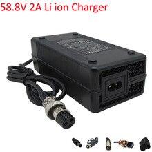 58,8 V 2A литиевая, фара для электровелосипеда в Зарядное устройство используется для 51,8 V 52 в 14S литий-ионный аккумулятор электрический велосип...