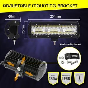 "Image 4 - Led Work Light Bar 180W 10"" Offroad 4X4 12V Driving Light Led Lights for trucks boat motorcycle tractor LED Combo SUV ATV Light"