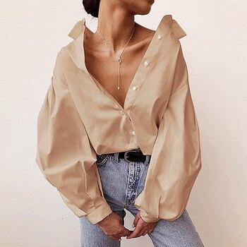Ladies Lantern Sleeve Elegant Blouse Shirt Women White Black Casual Button Vintage Turn Down Collar Office Lady Shirt Female 3