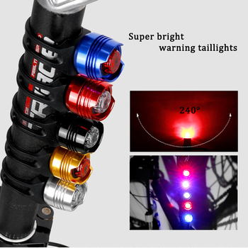 Bike Light Aluminum Alloy Waterproof Cycling Front Rear Tail Helmet Red Flash Lamp Safety Warning Caution Bicycle Lights image
