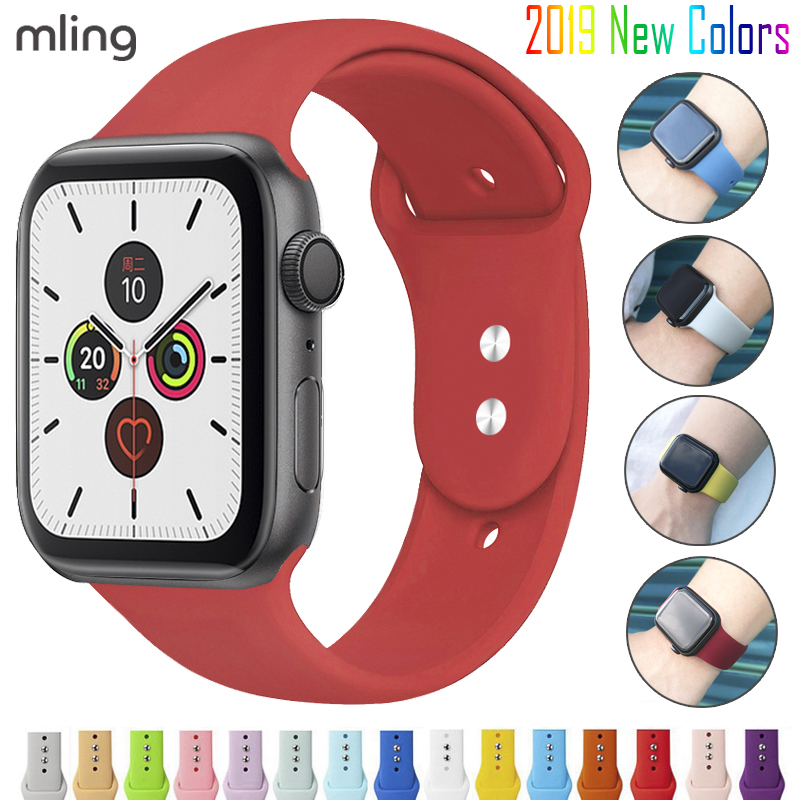 Colorful Soft Silicone Sports Band For Apple Watch Series 1 2 3 4 5 38MM 42MM Rubber Watchband Strap For 40MM 44MM IWatch 4/5