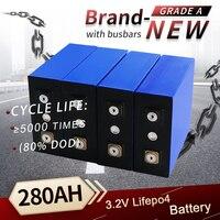 Nuovo 4 pz 3.2v 280ah Lifepo4 batteria ricaricabile litio ferro fosfato cella solare 12v 24v 8-48 pz grado A cella Lifepo4 esente da tasse