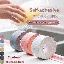3.2m*3.8cm Anti-mold DIY Wall Home Home Decortaion PVC Bathtub Self Adhesive Sealing Tape Sealing Strip Sticker