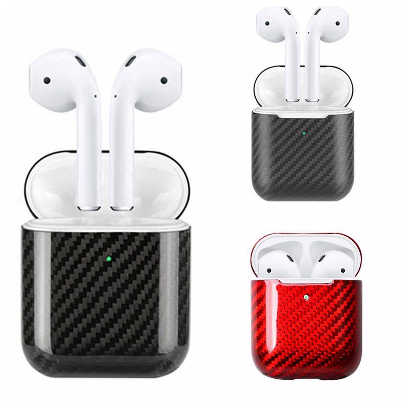 Funda de auriculares de fibra de carbono Real de primera calidad para Apple AirPods funda de auriculares inalámbricos LED Bluetooth cubierta de AirPod funda de manga