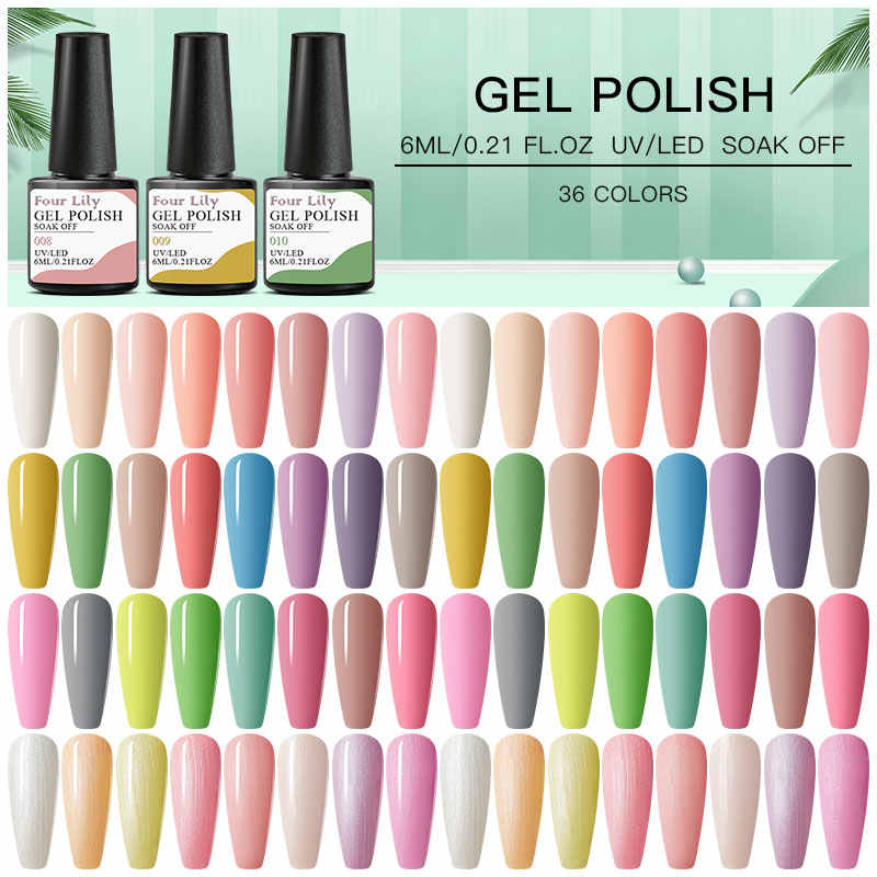 Empat Lily 6 Ml Spring Series Gel Warna Kuku Gel Polish Rendam Off Uv Gel Cat Kuku UV gel Nail Art DIY Desain Pernis