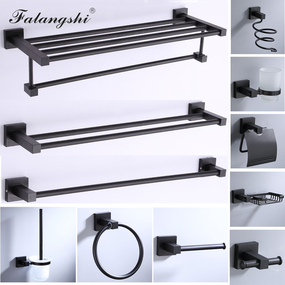 Aluminum Bathroom Accessories Black Towel Rack Towel Ring Hair Dryer Holder Wall Mounted Toilet Paper Holder Soap Basket WB8813