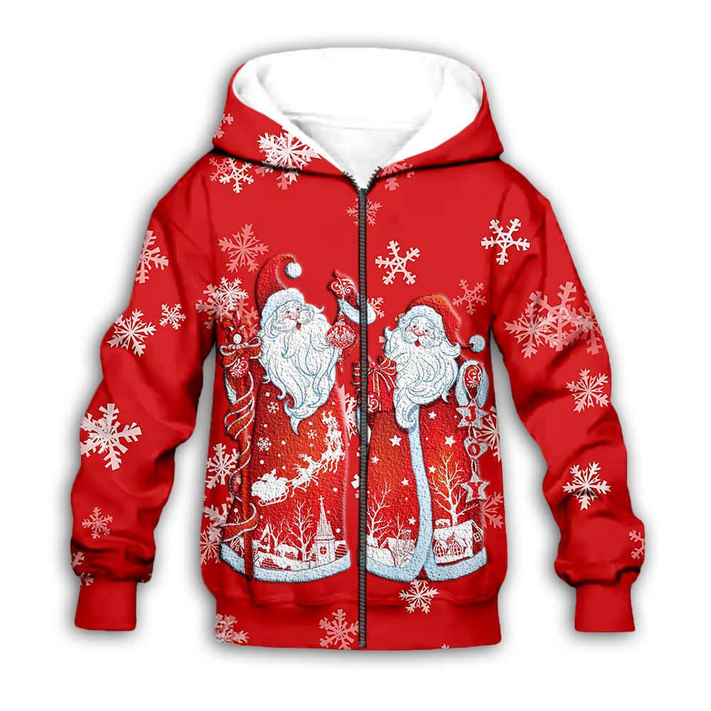 Novos topos feio natal com capuz feriados santa engraçado 3d impresso natal com capuz outono inverno unisex zíper casaco roupas