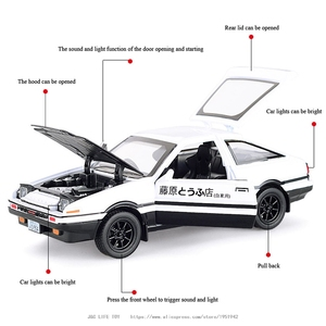 Image 2 - 1:28 Toy Car INITIAL D AE86 Metal Toy Alloy Car Diecasts & Toy Vehicles Car Model Miniature Scale Model Car Toys For Children