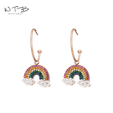 Wantobuy Trendy Romantic 316L Stainless Steel Rhinestone Pendant Dangle Earrings Rainbow Charm for Women Girl Oorbellen