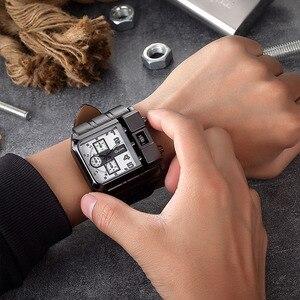Image 5 - Oulm 3364 Büyük Boy Saatler Erkekler Lüks Marka Spor Erkek quartz saat PU Deri Benzersiz erkek kol saati relogio masculino