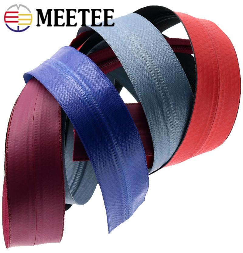 Meetee 2meter 3# 5# Nylon Coil Waterproof Zipper Color Coded Reverse Zip with Slider DIY Garment Outdoor Bags Sewing Accessories