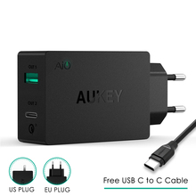 Eu Plug Original Aukey Fast Charge  PA Y2 Amp Type C with Quick Charge 3.0  Dual USB  Fsat Charging