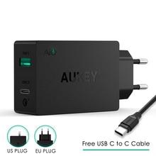 Prise ue originale Aukey Charge rapide PA Y2 ampères type c avec Charge rapide 3.0 double Charge USB Fsat