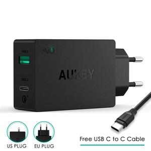 Image 1 - Prise ue originale Aukey Charge rapide PA Y2 ampères type c avec Charge rapide 3.0 double Charge USB Fsat