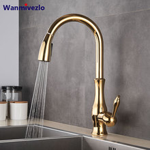Golden Pull Out Kitchen Faucet Pull Down Spray Kitchen Mixer Tap Single Handle Mixer Tap Swivel 360 Degree Kitchen Mixer Tap