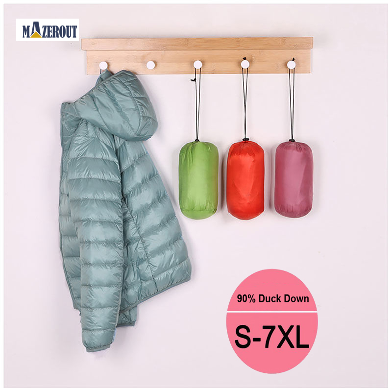 MAZEROUT 7XL Winter Jackets Women White Duck Down Female Padded Hooded Parkas Ultra Light Portable Down Coats Casacos