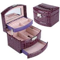 Organizador de joyería de 3 capas para mujer, caja de almacenamiento de anillo, portátil, para maquillaje, viaje en casa, regalo de Navidad