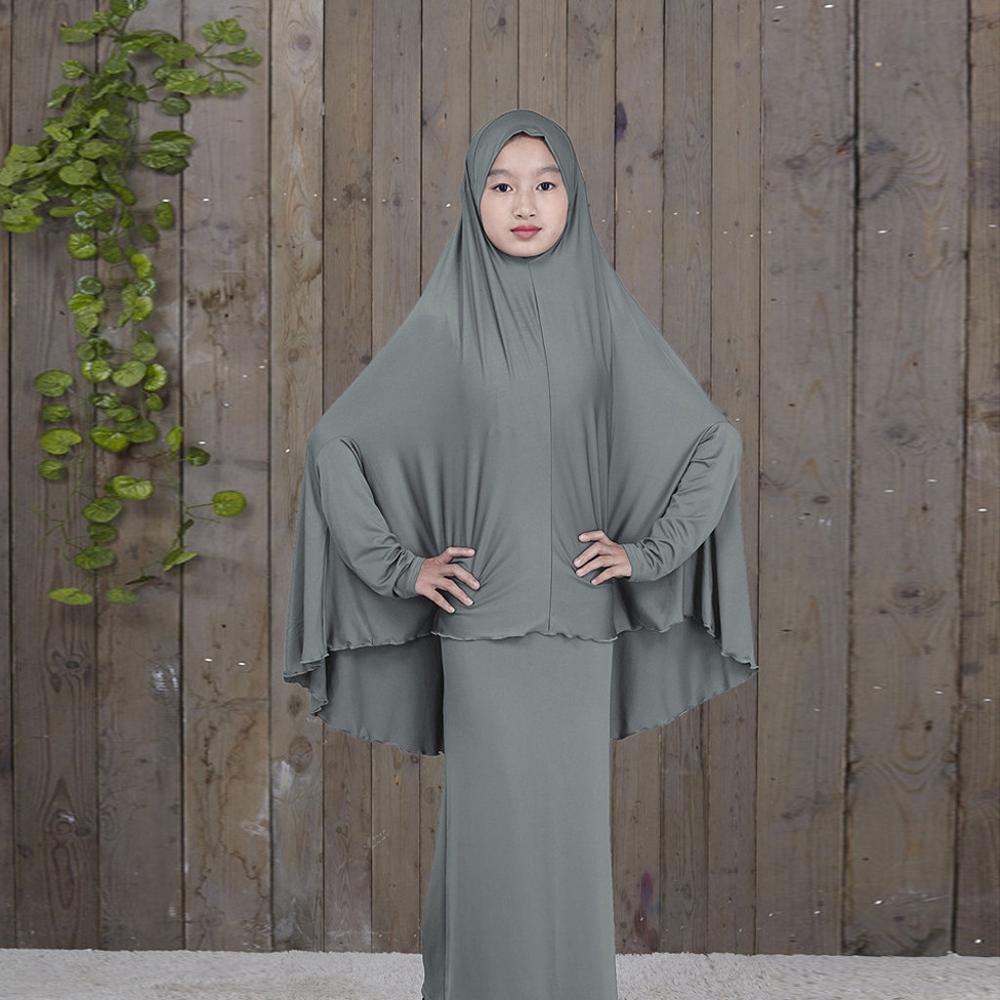 Abaya Kaftan Islamic Fashion Muslim Dress Clothing  Arab Middle Eastern Teen Girl Solid Color Simple Dress Two-Piece Suit 4.17