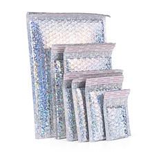 5 pçs laser ouro plástico película protetora envoltório envelope bolha branca sacos de embalagem de espuma clara à prova de choque saco de amortecimento de filme duplo