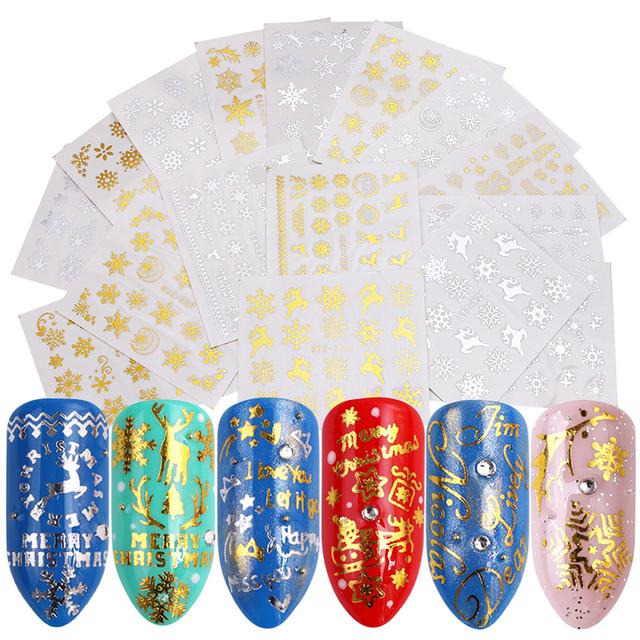 1Sheet  Red Gold 3D Nail Sticker Set
