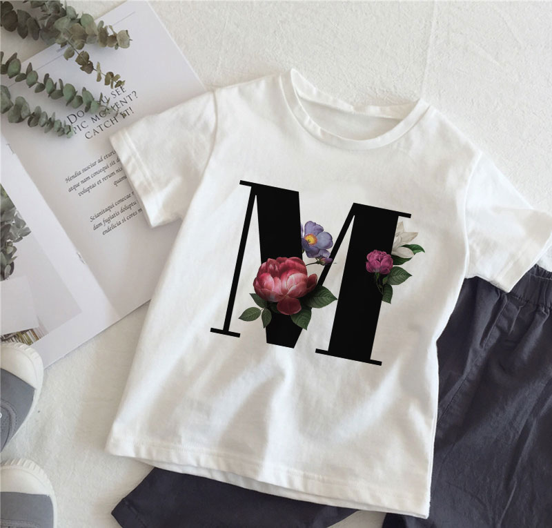 New Cartoon Flower English Alphabet Print Girls T Shirt Leisure Girl T-shirt Children Harajuku Boy Tshirt Kawaii Kids Tops Vogue