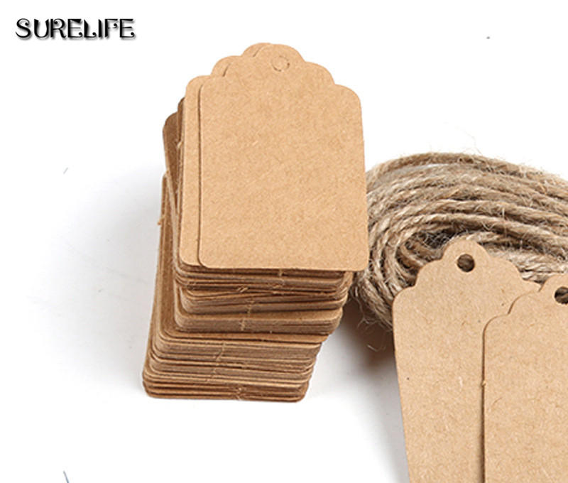 2000Pcs Tag Store Kraft Paper Blank DIY Wedding Gift Hemp Rope Price Label Hang 2*4cm/3*5cm - 6