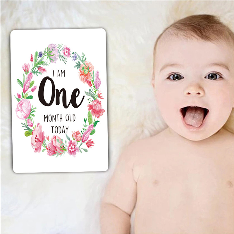 Baby Photography Cards 1-12 Months Baby Milestone Photo Cards Moment Photo Cards Age Markers & Unique Firsts Baby Shower Gifts