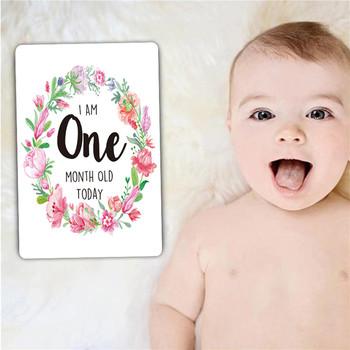 Karty fotograficzne dla dzieci 1-12 miesięcy Baby Milestone karty fotograficzne Moment karty fotograficzne markery wiekowe i wyjątkowe prezenty na brzuszkowe tanie i dobre opinie Paper About 10 16*15 24cm(4*6in) 0-3 M 4-6 M 7-9 M 10-12 M 12 Pcs Set Baby Photography Card B0529