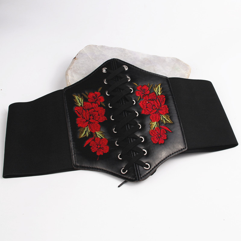 Girl's Versatile Skirt Elastic Waist Seal Fashion Flower Embroidery DecorationelasticThree-row Pin Buckledesign Women Belt Belts