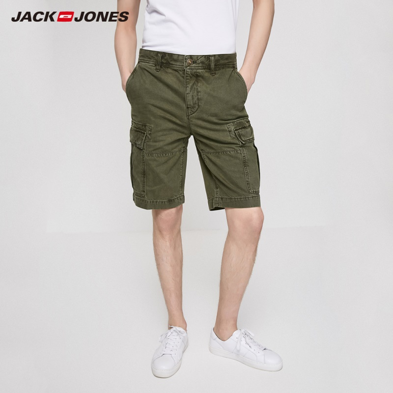JackJones Men's 100% Cotton Straight Fit Pure Color Army Green Washed Knee-high Shorts Menswear| 219243505