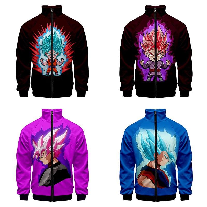 Son Goku 3d Stand Collar Hoodie Anime Cartoon Dragon Ball Z Men Women Zipper Hoodies Jackets Long Sleeve 3D Sweatshirts Tops 4XL