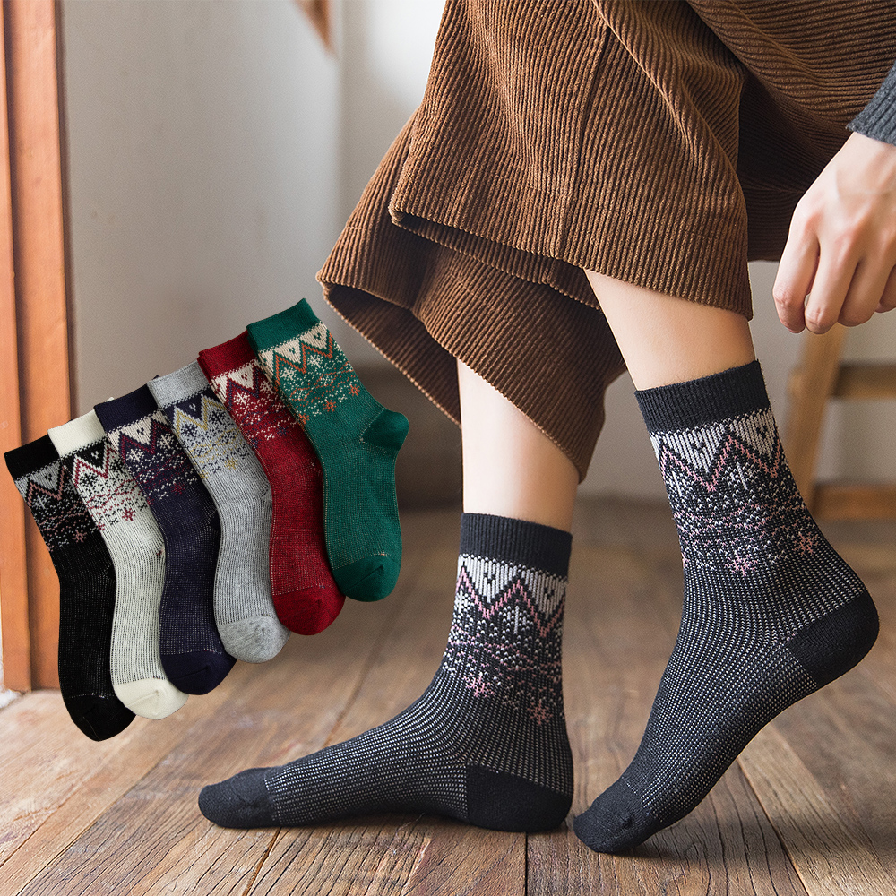 Salina носки женские жаккардовые носки с оленем повседневные спортивные модные осенне зимние утепленные хлопковые носки высокого качества|Чулки|   | АлиЭкспресс