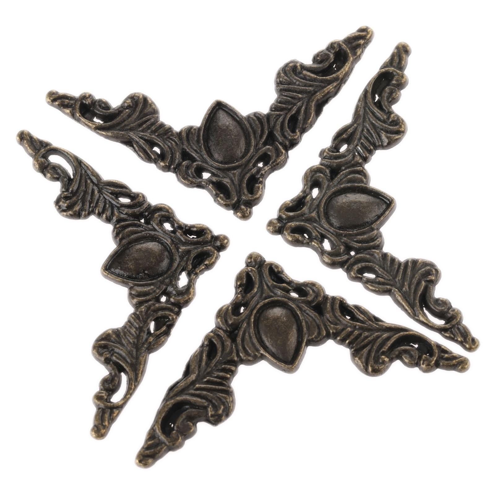 4Pcs Antique Bronze Jewelry Box Book Corner Bracket Antique Frame Accessories Notebook Menus Decorative Protector 40*40*55*1mm