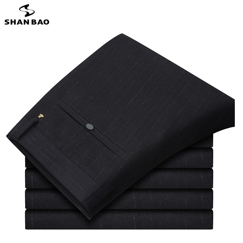 Trousers SHANBAO Casual Pants Stretch Black Striped Thick Men's Winter New And Autumn